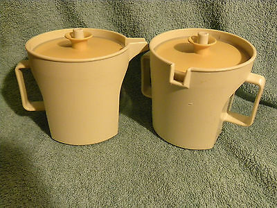 Vtg. Tupperware Creamer #1415-4 and 1414-4 Cream & Gold - EB12