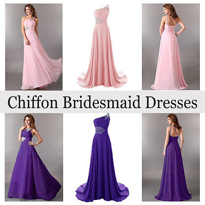 Wedding Bridesmaid Dresses Chiffon Long Formal Evening Party Cocktail Dress Lot