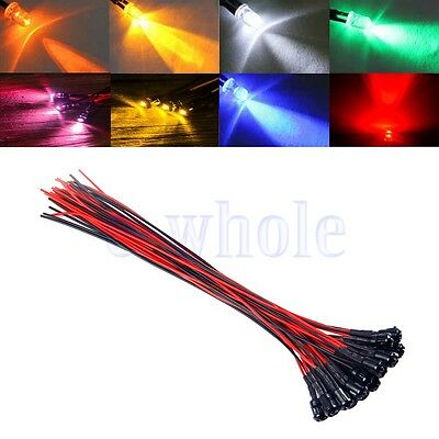 3mm colorful pre-wired 20cm LED light Lamp 12V DC with Plastic Bezel Holders WS