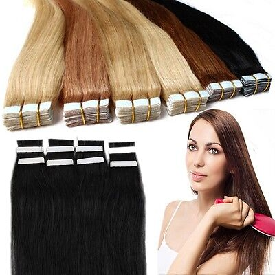 20/40pcs Tape in 100% Remy Human Hair Extensions Skin Weft Virgin AU Salon
