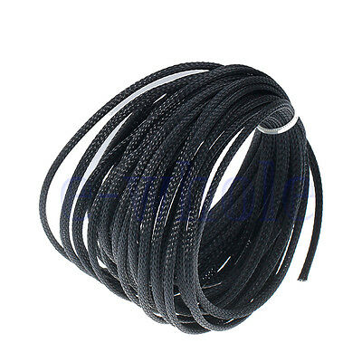 10m 4mm Expandable PET Braided Cable Wire Sleeving High Density Black WS