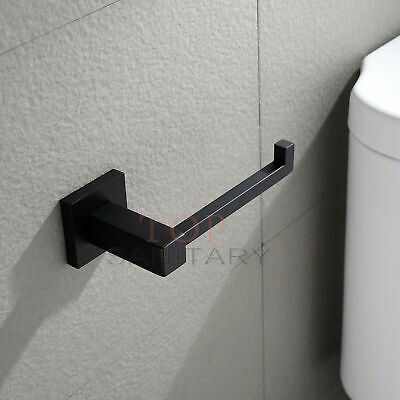 Toilet Paper Holder Black Square Hook Hanger Stainless Steel Washroom Bathroom