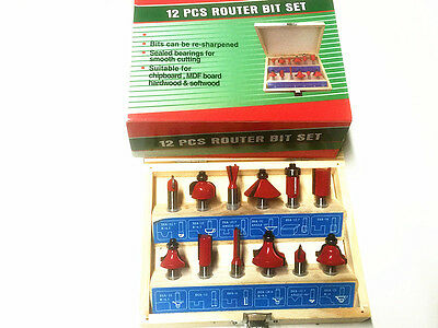 12 pc ROUTER BIT  SET IN WOODEN BOX -Brand New
