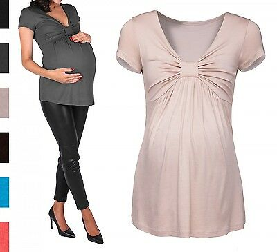 Happy Mama. Women's Maternity Top Empire T-shirt Bow Bust. Short Sleeves. 969p