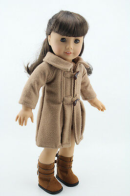 Brown Jacket Doll Cloth Fit For 18 inch Girl Doll Camel Woolen Coat Outfit