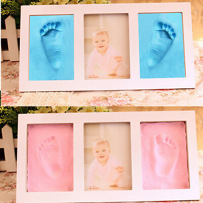 Cute Gift Print Set Footprint Cast Foot or Hand Photo Frame Baby