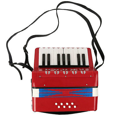 Red Kids Instrument Music Accordion Button Piano Toys Great Gift For Children