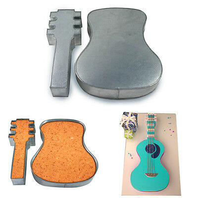 Two Picess Large Guitar Shape Cake Tin Pan for Birthday Novelty Fun Cake Mould