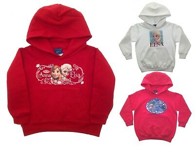 Girls Disney Frozen Jumper Hoodie Hooded Jacket Sweatshirt Hoody Elsa Anna Olaf