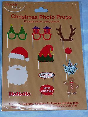 12 Make Your Own Photo Booth Props Christmas Santa Reindeer Arts Crafts Party