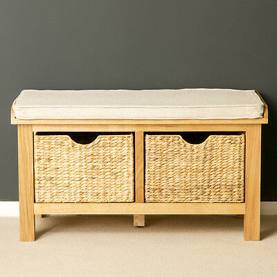London Oak Storage Bench for Porch / Solid Wood Hall Bench with Baskets / New