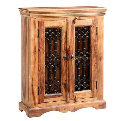Rani Indian Rosewood Furniture CD DVD Cabinet Case with Double Doors and Shelf