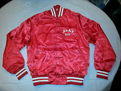 Vintage Red Satin Truckers Jacket Budweiser Logo L  Killer Look And Feel! Rare!