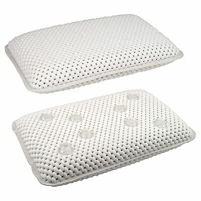 Luxury White Relaxing Spongy Cushioned Bath Spa Pillow Head Neck Rest