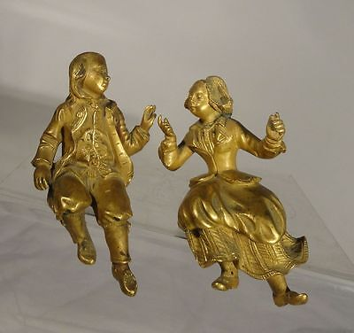 Antique Ormolu Gilt Bronze Clock Figures Mantle Clock 18th Century Boy and Girl