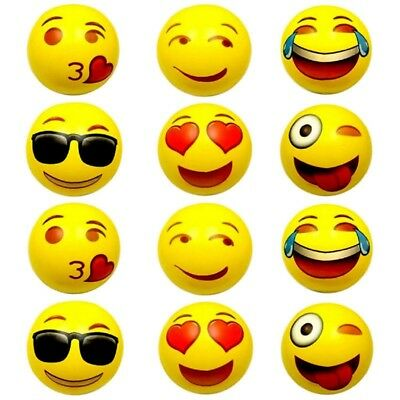 Set of 6 ~ Emoji Face Beach Ball Inflatable Round for Water Play Pool & Kids 18""