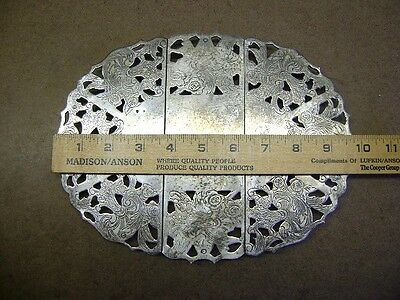 "Vintage RAIMOND Spain Silver Plate Expandable Oval Trivet Expands from 10""-12"""