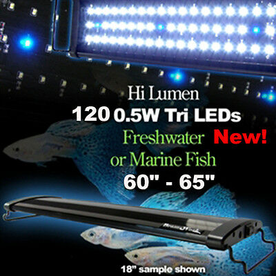 Aquarium Fish Tank Over-Head Lamp Bright LED Light White+Blue 150cm 60W