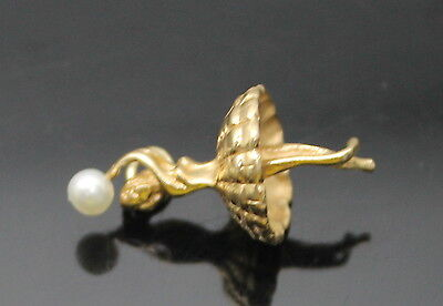 Charming Vintage Genuine Pearl 3D Ballet Dancer Solid 14K Yellow Gold Charm