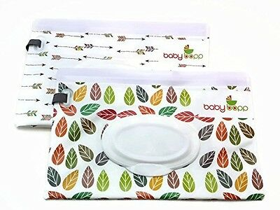 Baby Bopp Wipes Dispenser, Reusable Travel Case 2-pack (Leaf & Arrow Collection)