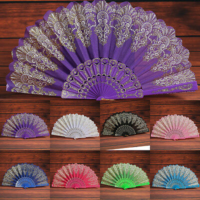Chinese Style Lace Silk Folding Hand Held Flower Fans Dance Party Wedding Supply