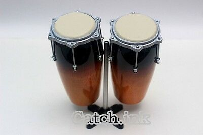 Miniature Conga Drum Set Acoustic Percussion Instrument For Display Only
