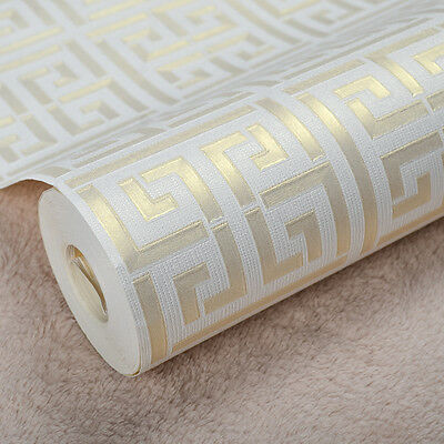 Neutral Greek Key Design Modern Geometric Trellis Wallpaper,Gold on White