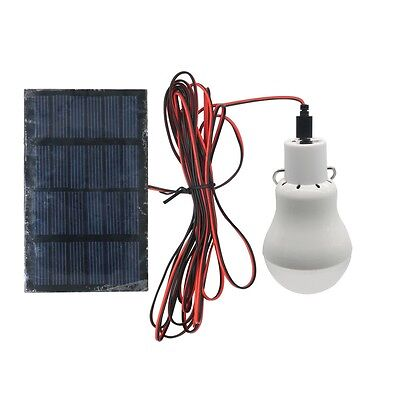 Outdoor Solar Panel Powered LED Bulb Lamp Portable Camp Tent Fishing Light Hook