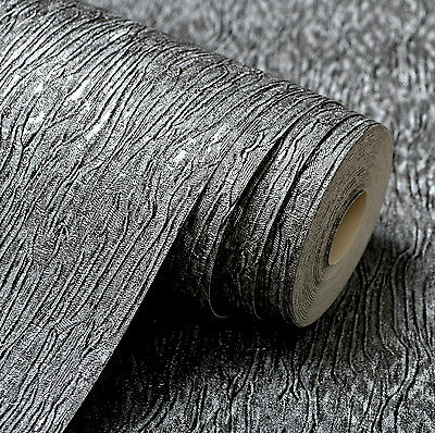 Embossed Textured Wallpaper Modern Plain Vinyl Wall Coverings Black Silver 10M