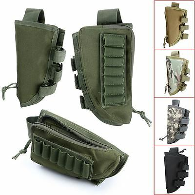 Tactical Military Rifle Butt Stock Cheek Rest Shell Ammo Bag Carrier Package #E