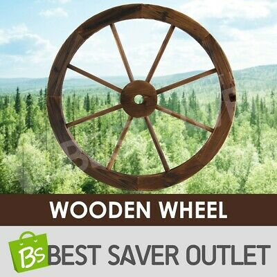 New Large Wooden Wheel Rustic Garden Decor Feature Outdoor Wagon
