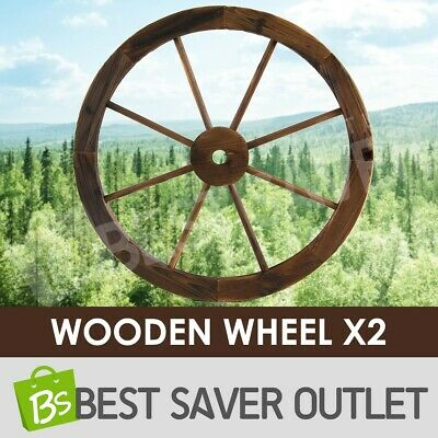 Outdoor Large Wooden Wheel x2 Garden Decor Feature Wagon Wheels Decoration