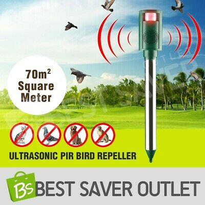 Ultrasonic PIR Bird Repeller Pest Repellent Cat Rats Dogs Raccoons LED Function