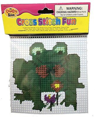 Cross Stitch Fun Frog for Beginners and Children. Free Shipping