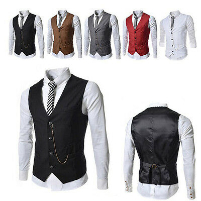Fashion Mens Party Formal Wedding Chain Waistcoat Chest Dinner Suit Business Ves