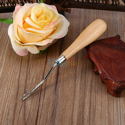 Wooden Handled Crochet Needle Latch Hook Puller Tool For Canvas Rug Mats Making