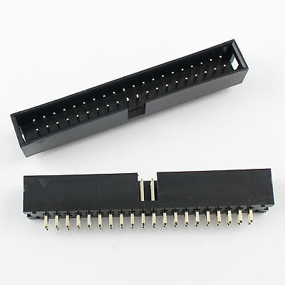 20Pcs 2.54mm 2x20 Pin 40 Pin Straight Male Shrouded Box Header PCB IDC Connector