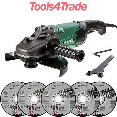 "Hitachi G23ST 230mm / 9"" Electric Angle Disc Grinder 2000W 110V + 5 Extra Blades"