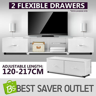 2 Drawers Adjustable Modern TV Stand Modular Entertainment Unit Cabinet WH