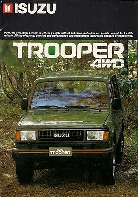 Isuzu Trooper 1987-88 Export Market Sales Brochure In English Standard DLX LS