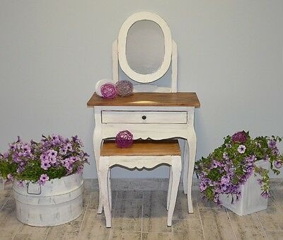 Rustic Set Dressing Table With Stool French White Mirror Makeup Vintage Shabby