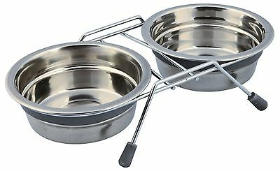 Anti Rattle Eat on Feet Stainless Steel Bowl Set for Cats & Small Dogs 2 x 0.45L