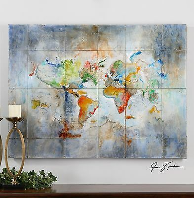 "Large Vibrant Color 48"" Hand Painted Canvas Modern World Map Painting Wall Art"