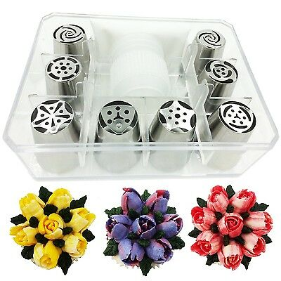 BakeLux Russian Piping Tips Tool Set - 8 Flower Icing Nozzles, Coupler, Pastry B