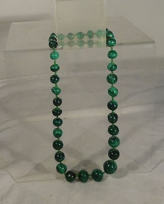 Antique Chinese Malachite Carved Bead Necklace Glass Beads Graduated