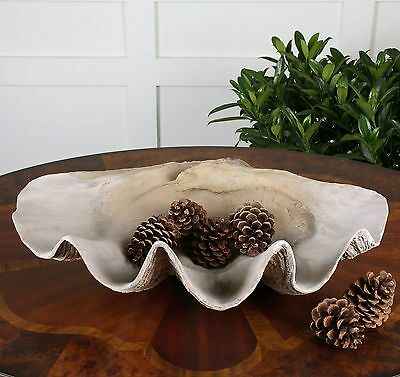 "Huge 23"" Natural Looking Clam Shell Bowl Ornate Art Beach Ocean Table Decor"