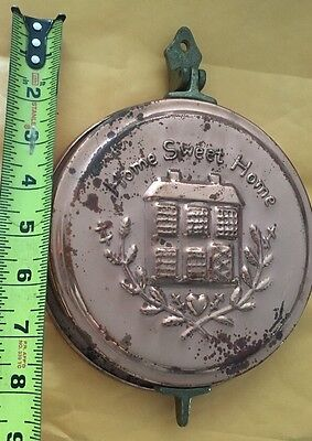 VTG Home Sweet Home Copper Brass Bunt Pan Hide key holder DECOR WALL Embossed A+