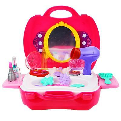 Pink Plastic Pretend Play Beauty Princess Dressing Makeup Kit Girl's Playset