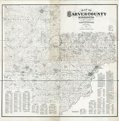 1880 Farm Line Map of Carver County Minnesota from actual surveys