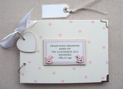 PERSONALISED new baby/christening..A5 SIZE. PHOTO ALBUM/SCRAPBOOK/MEMORY BOOK